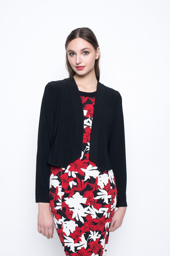 bolero jacket short length in black paired with a dress by picadilly canada