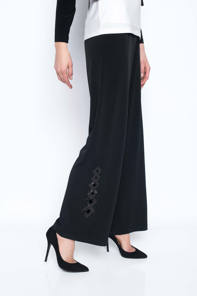 Sequin Trimmed Wide Leg Pants