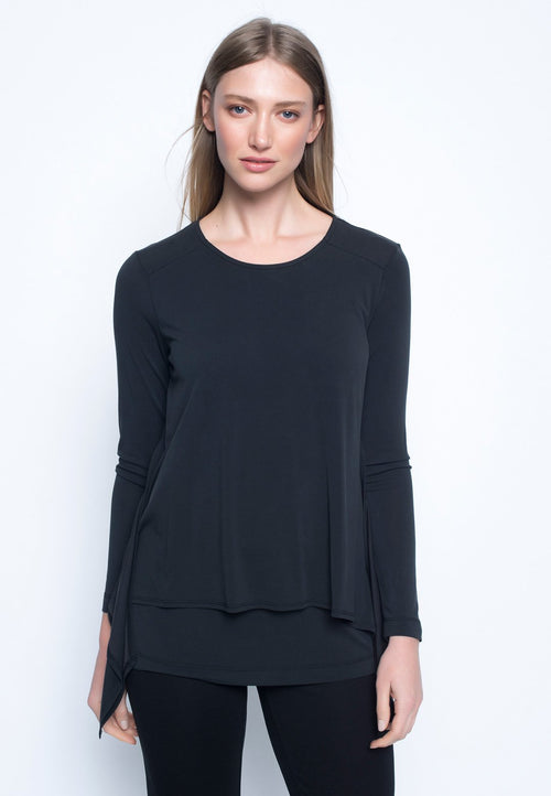 Long Sleeve Pointed Hem Layered Top