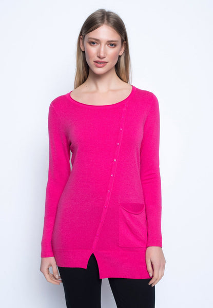 Button Trimmed Long Sleeve Top
