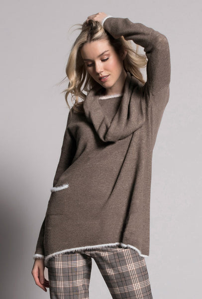 White Trim Top With Pocket in coffee bean by picadilly canada