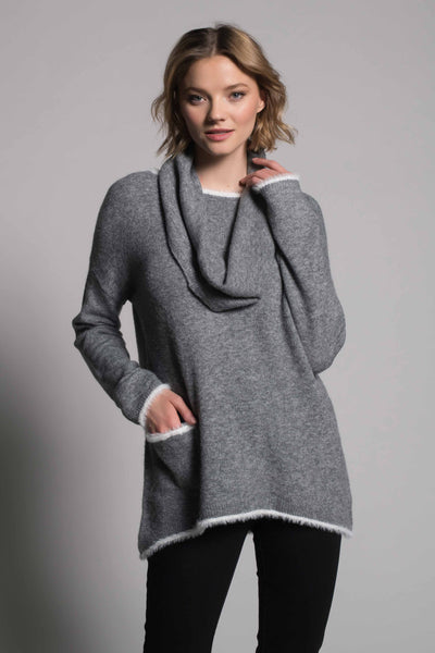 White Trim Top With Pocket in grey by picadilly canada