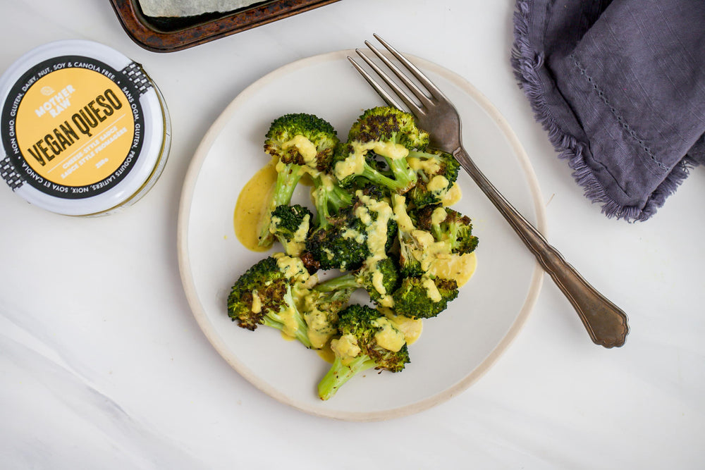 Crispy Broccoli with Vegan Queso