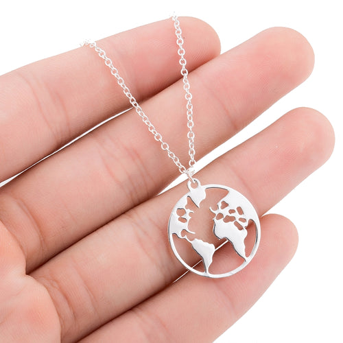 Gold World Map Necklace Fashion for Travel Lovers
