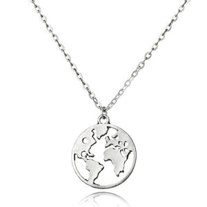 Two layered World Map Necklace for Travel Lovers