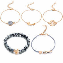 Load image into Gallery viewer, Set of 5 Charm Bracelets For Women - Fashion Gold Color Strand Bracelets