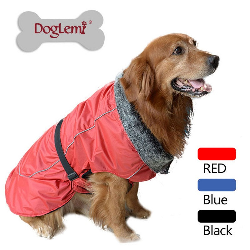 Fur Collar Waterproof Dog Jacket