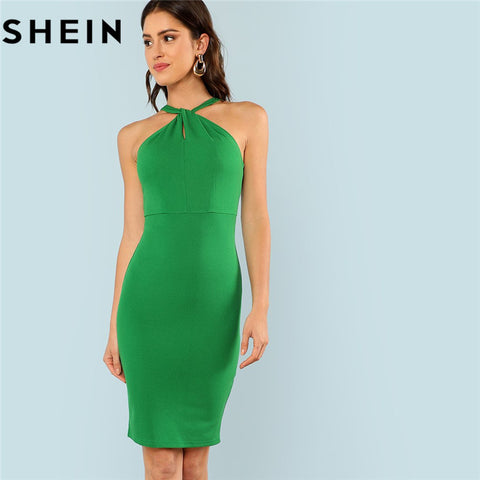 756082ca1dcf0 SHEIN Green Sleeveless High Waist Halter Dress Office 2018 Women Elegant  Summer Bodycon Party Short Fitting