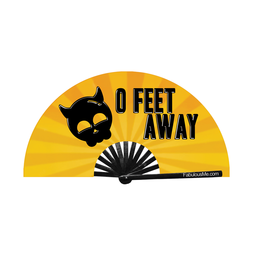 Black print 0 Feet away bamboo hand fan by fabulous me fans on Gold and yellow UV glow fabric. For circuit parties, raves, and festivals.