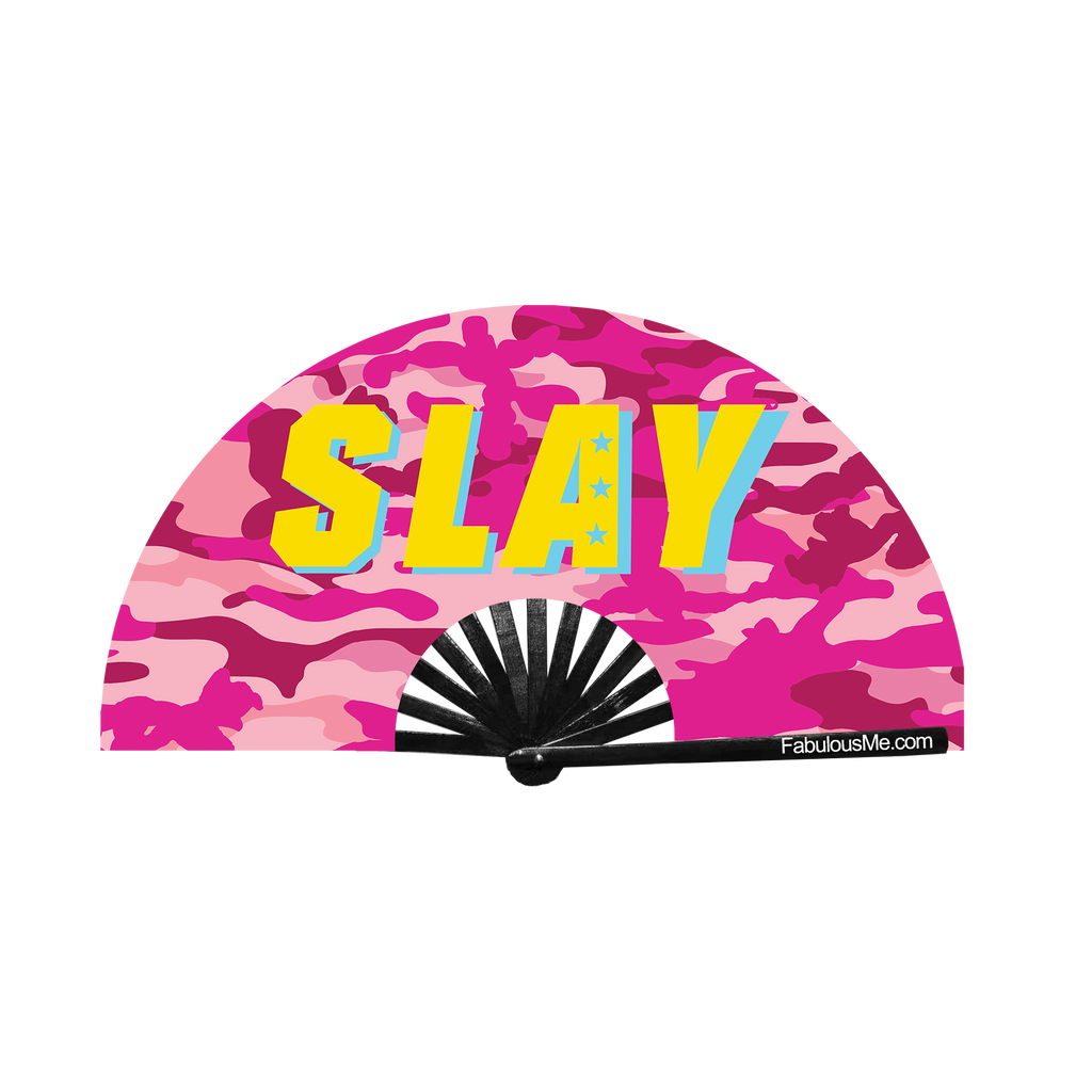pink military slay camouflage circuit party fan (can be used for circuit parties, raves, EDM festivals, parties, music festivals). Made with nylon fabric and bamboo ribs, made by FabulousMe fans.