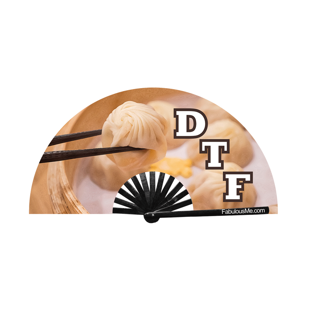 DTF (Din Tai Fung) circuit party fan (can be used for circuit parties, raves, EDM festivals, parties, music festivals). Made with nylon fabric and bamboo ribs, made by FabulousMe fans.