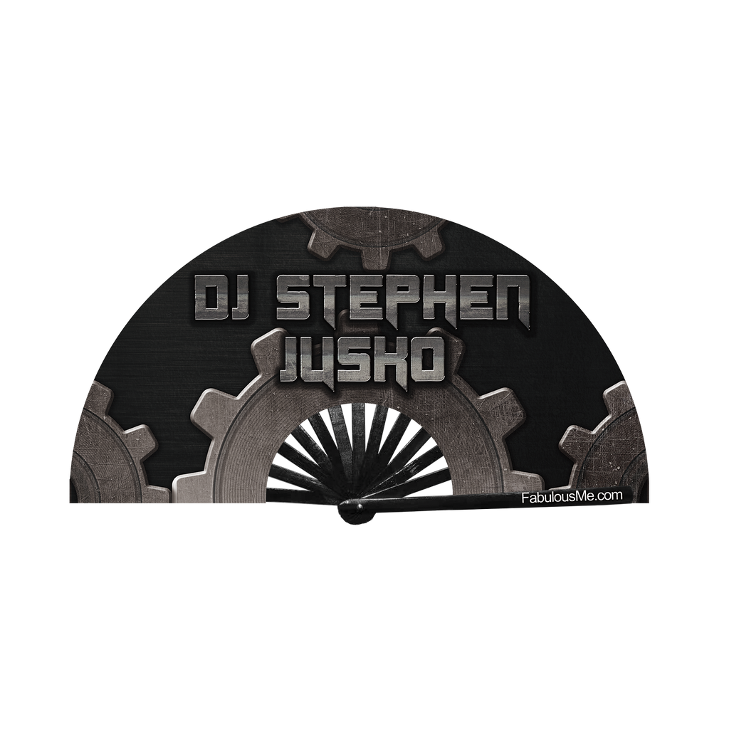 DJ Stephen Jusko circuit party fan (can be used for circuit parties, raves, EDM festivals, parties, music festivals). Made with nylon fabric and bamboo ribs, made by FabulousMe fans.