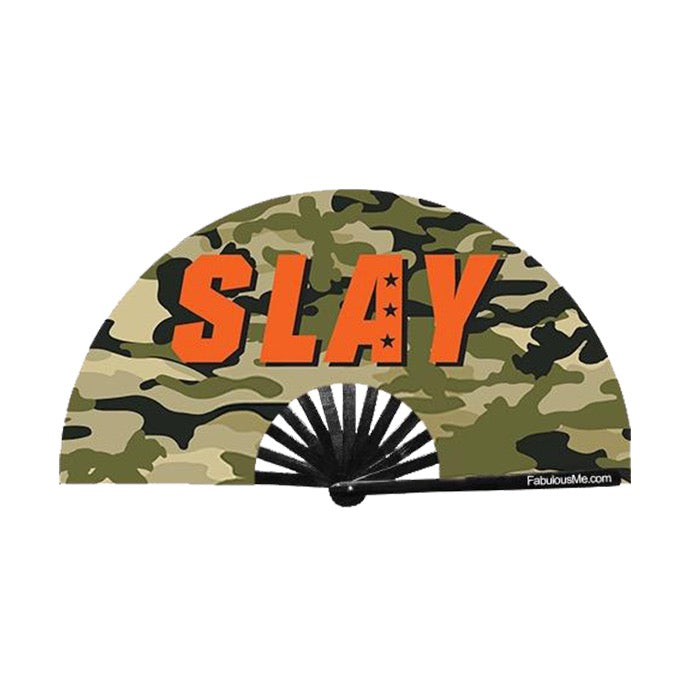 military slay circuit party uv glow bamboo hand fan by fabulous me fans festival rave gear clack