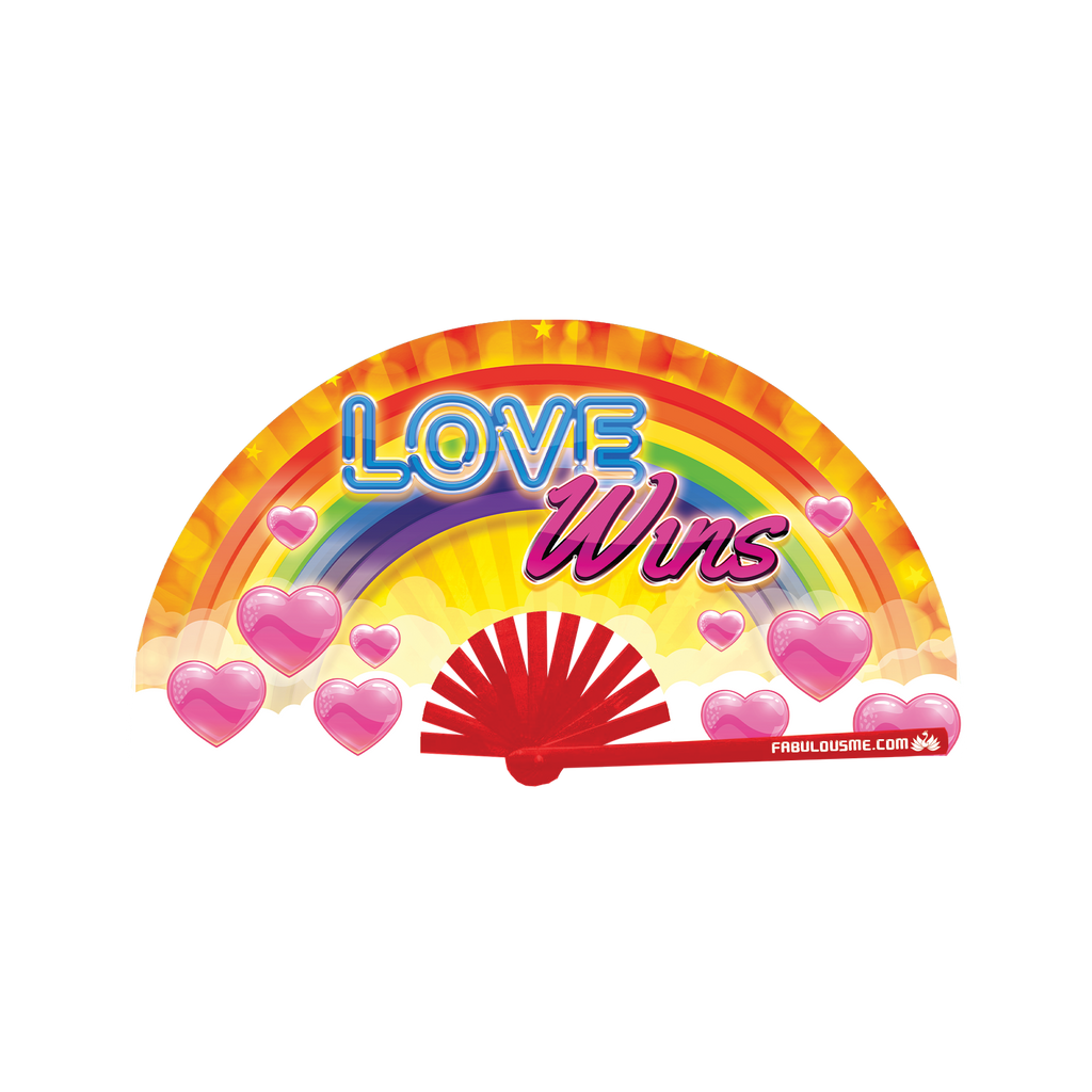 love wins neon bamboo circuit party hand fan by Fabulous me fans for raves edm festivals clack