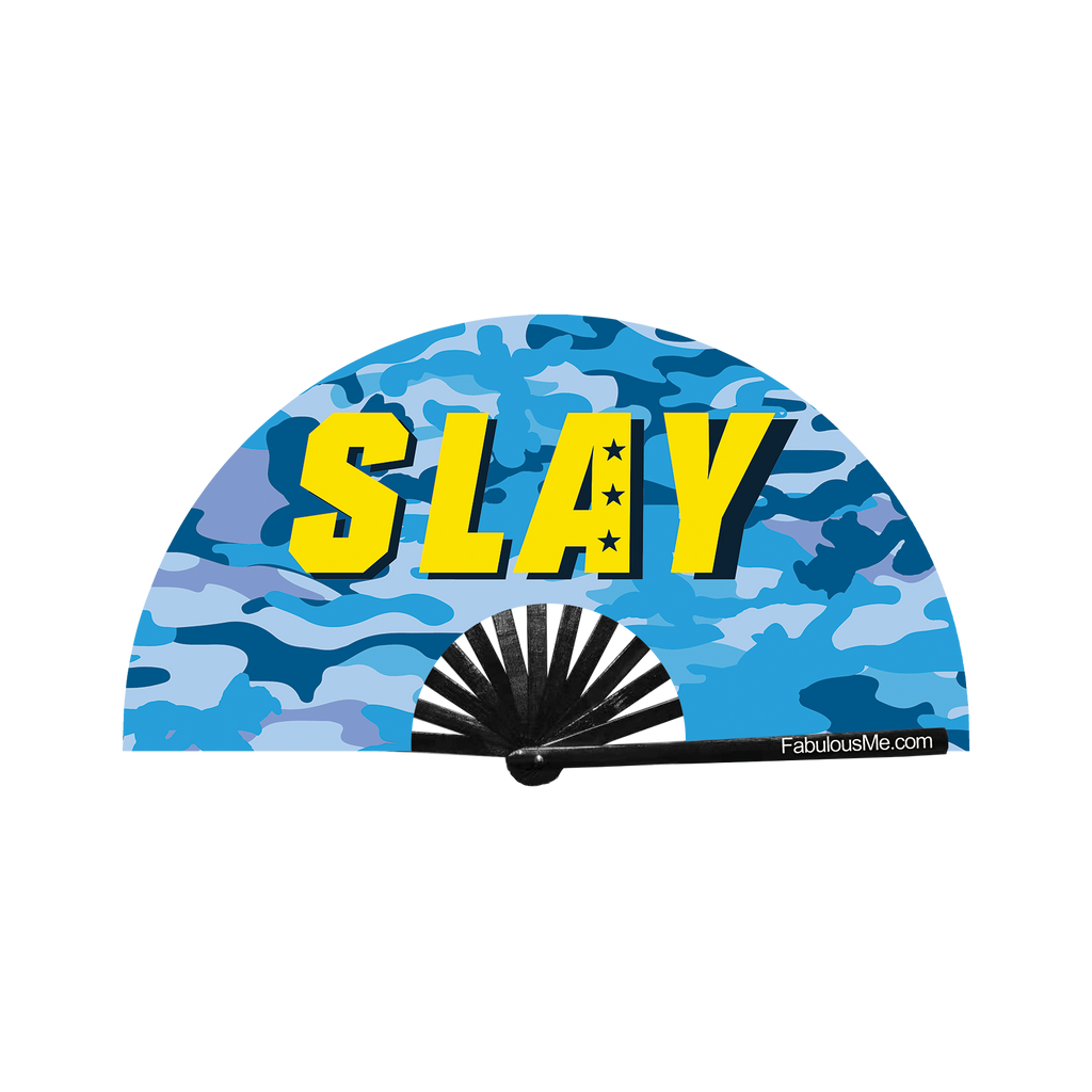 blue military slay neon circuit party uv glow bamboo hand fan by fabulous me fans festival rave gear clack