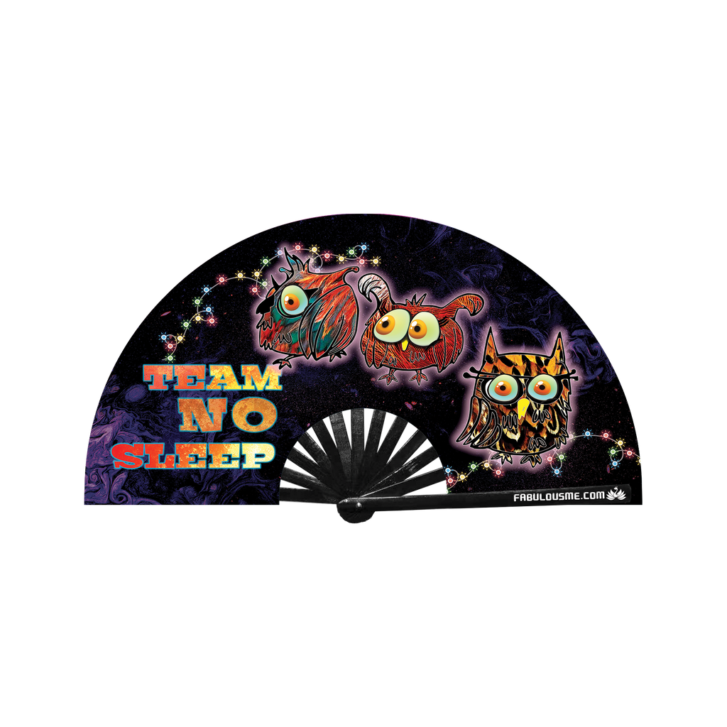 Team No Sleep Neon circuit party fan (can be used for circuit parties, raves, EDM festivals, parties, music festivals). Made with nylon fabric and bamboo ribs, made by FabulousMe fans.