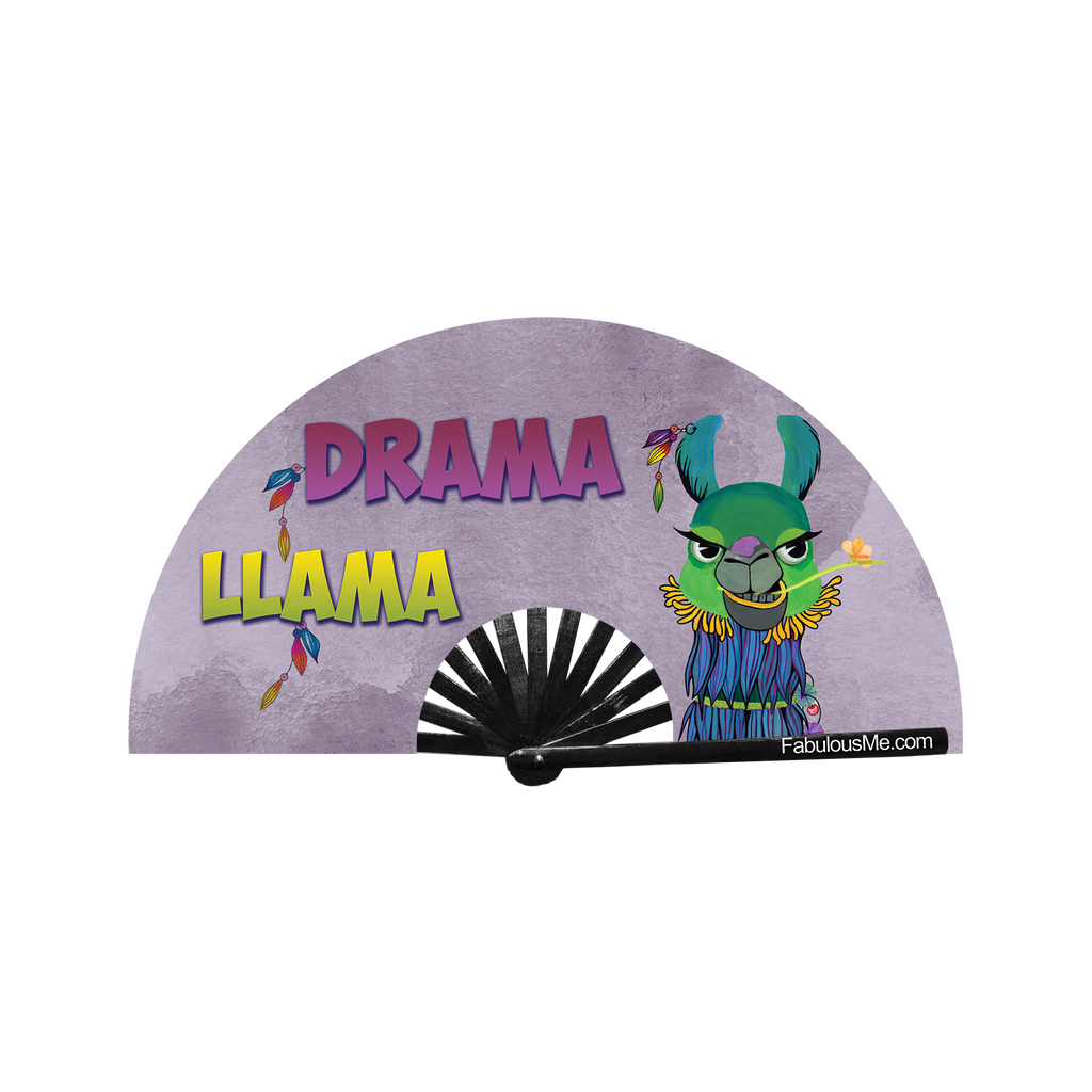 Drama llama neon circuit party fan (can be used for circuit parties, raves, EDM festivals, parties, music festivals). Made with nylon fabric and bamboo ribs, made by FabulousMe fans.