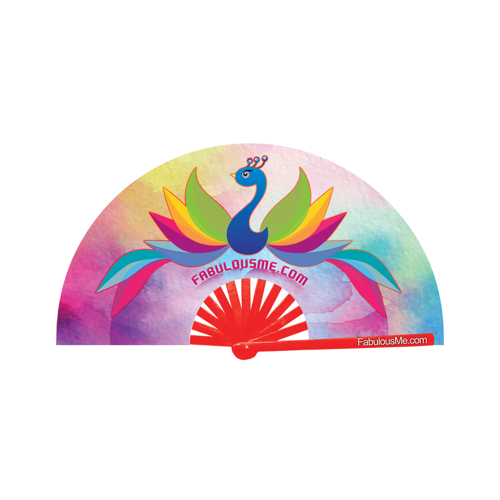 peacock logo neon bamboo circuit party hand fan by Fabulous me fans for raves edm festivals clack