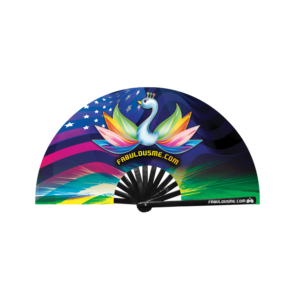 Fabulousme American Flag Peacock Logo Fan (UV Glow)