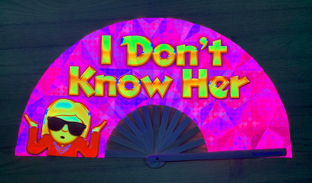 I don't know her circuit party uv glow bamboo hand fan by fabulous me fans mariah carey festival rave gear clack