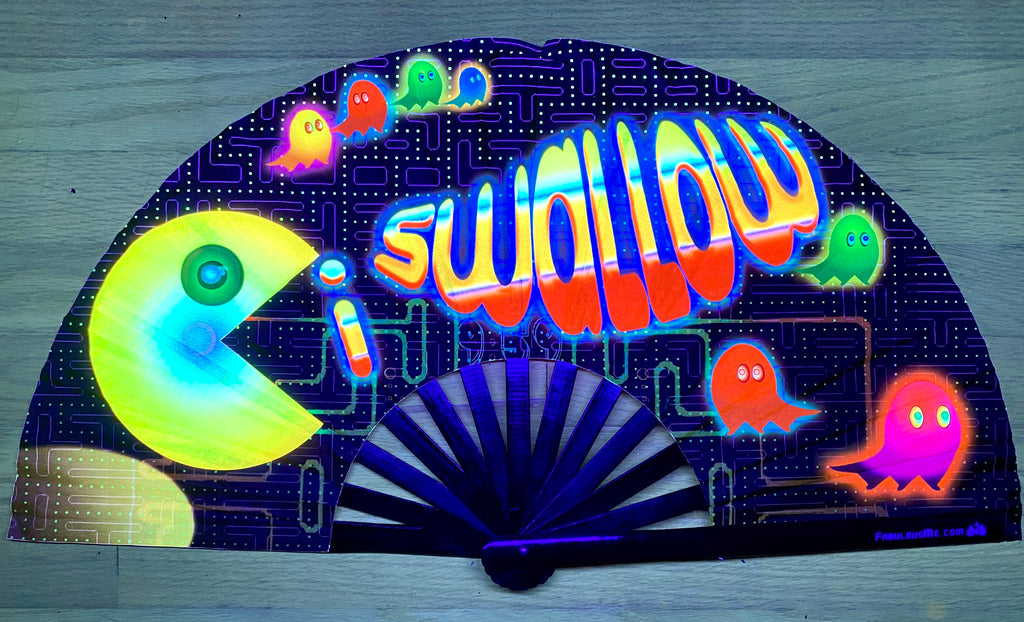 I swallow circuit party uv glow bamboo hand fan by fabulous me