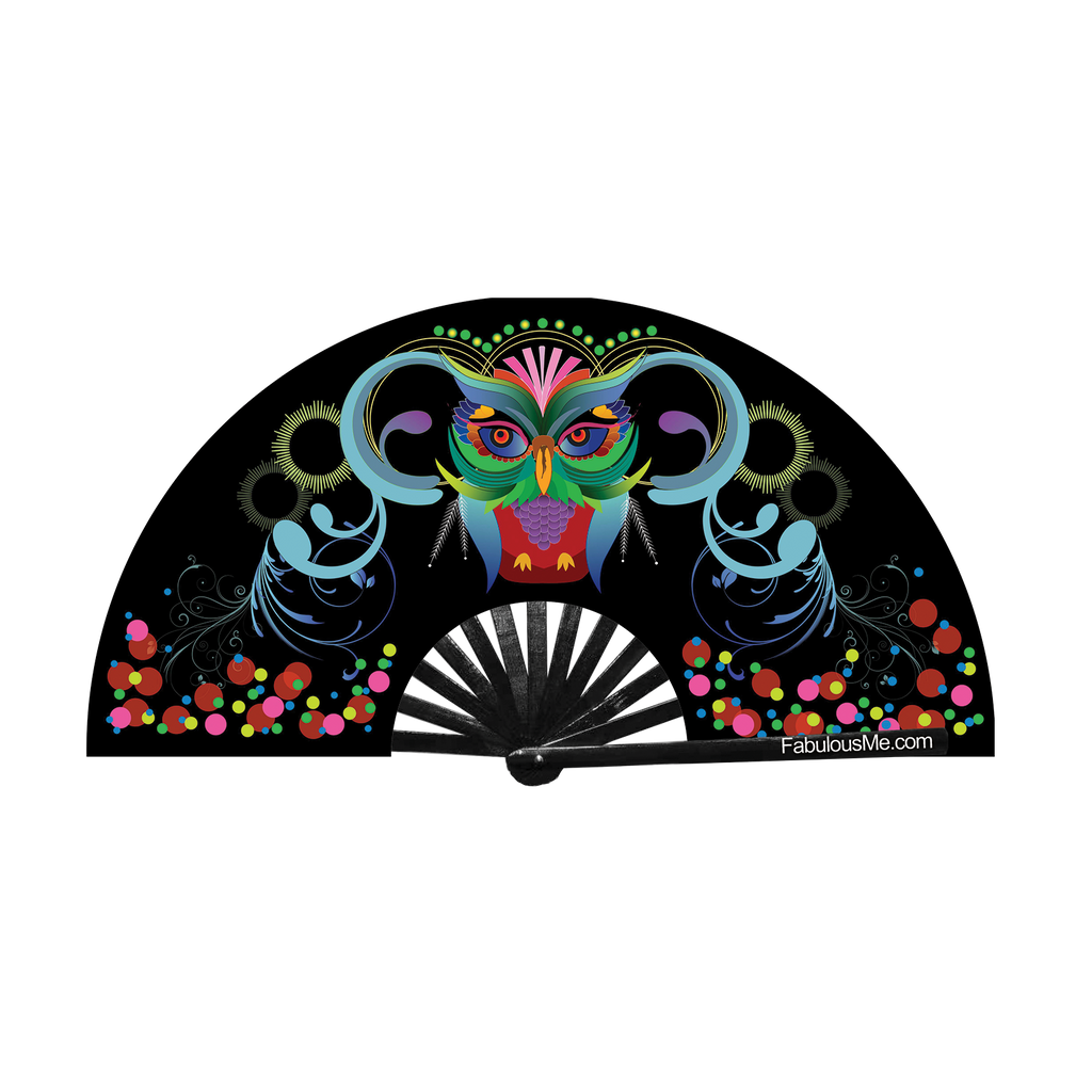 Neon Owl bamboo circuit party uv glow fan by Fabulousme fans for raves edm festivals clack fwap