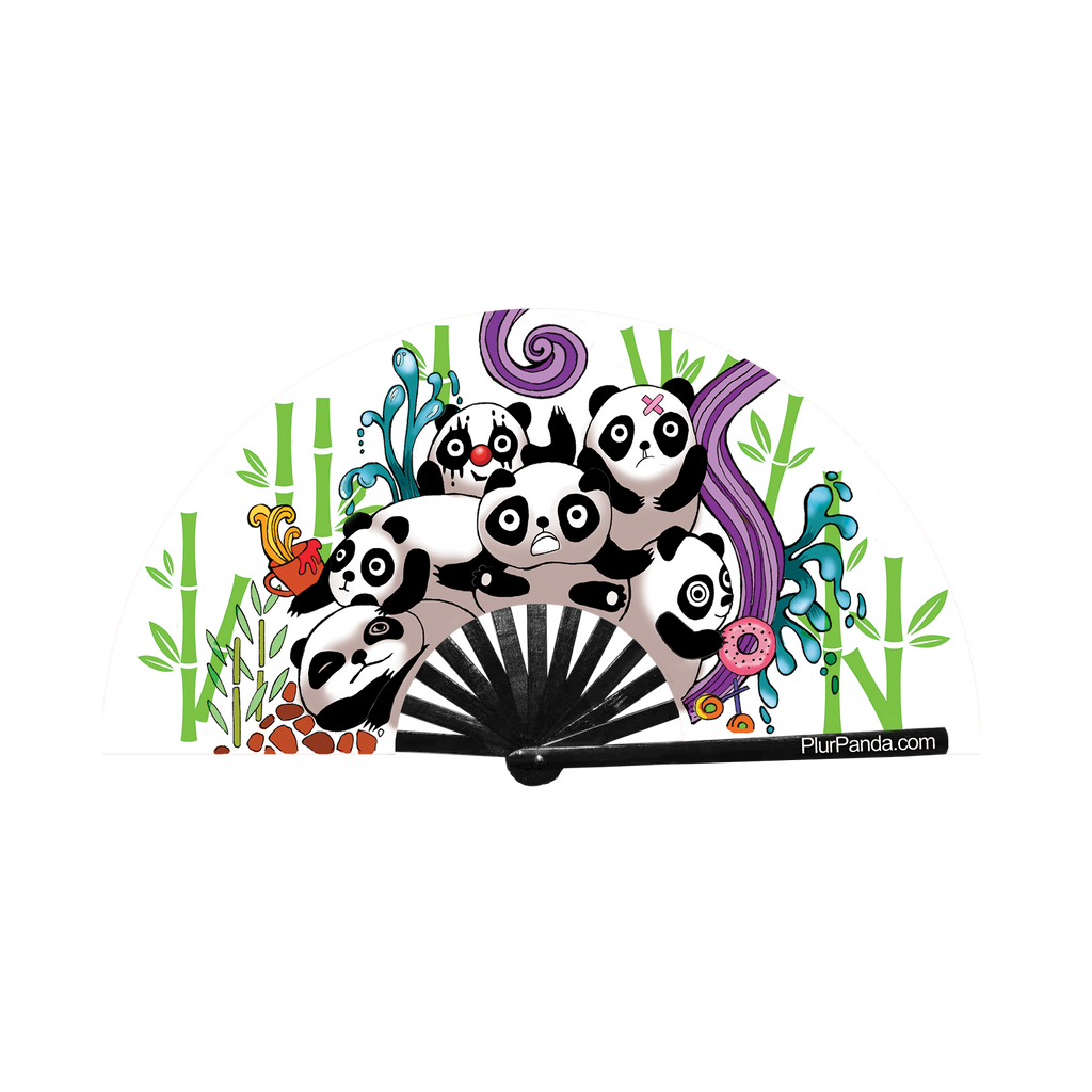 Plur Panda (pandamonium) circuit party fan (can be used for circuit parties, raves, EDM festivals, parties, music festivals). Made with nylon fabric and bamboo ribs, made by FabulousMe fans.
