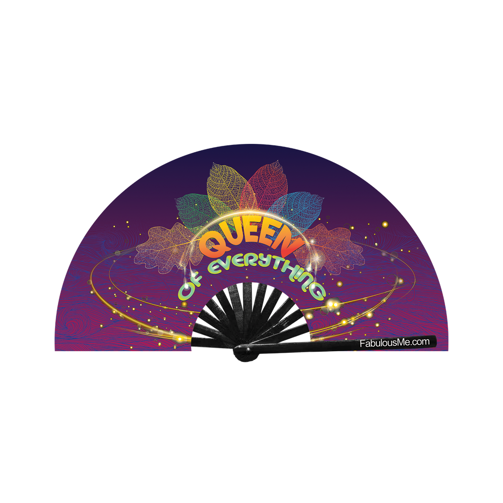 Queen of everything neon bamboo circuit party hand fan by Fabulous me fans for raves edm festivals clack