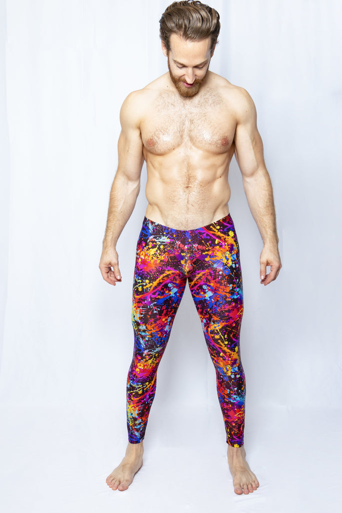Black Paint Splatter - Men's Leggings - SokoWear
