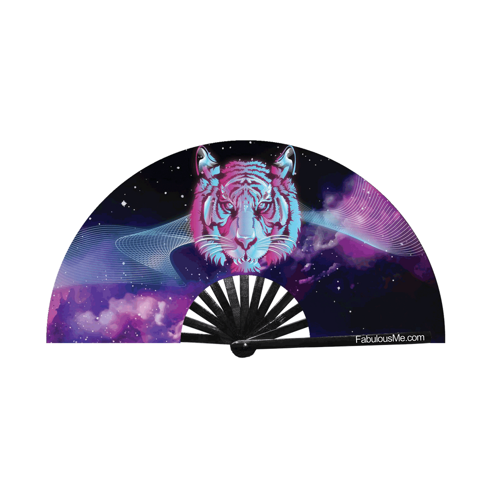 Space Tiger circuit party fan (can be used for circuit parties, raves, EDM festivals, parties, music festivals). Made with nylon fabric and bamboo ribs, fan also UV Glows  (UV Reactive) made by FabulousMe fans