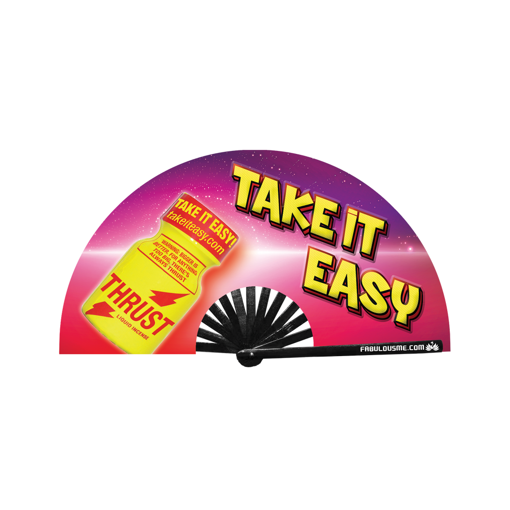 Take It Easy Fan Neon circuit party fan (can be used for circuit parties, raves, EDM festivals, parties, music festivals). Made with nylon fabric and bamboo ribs, made by FabulousMe fans.