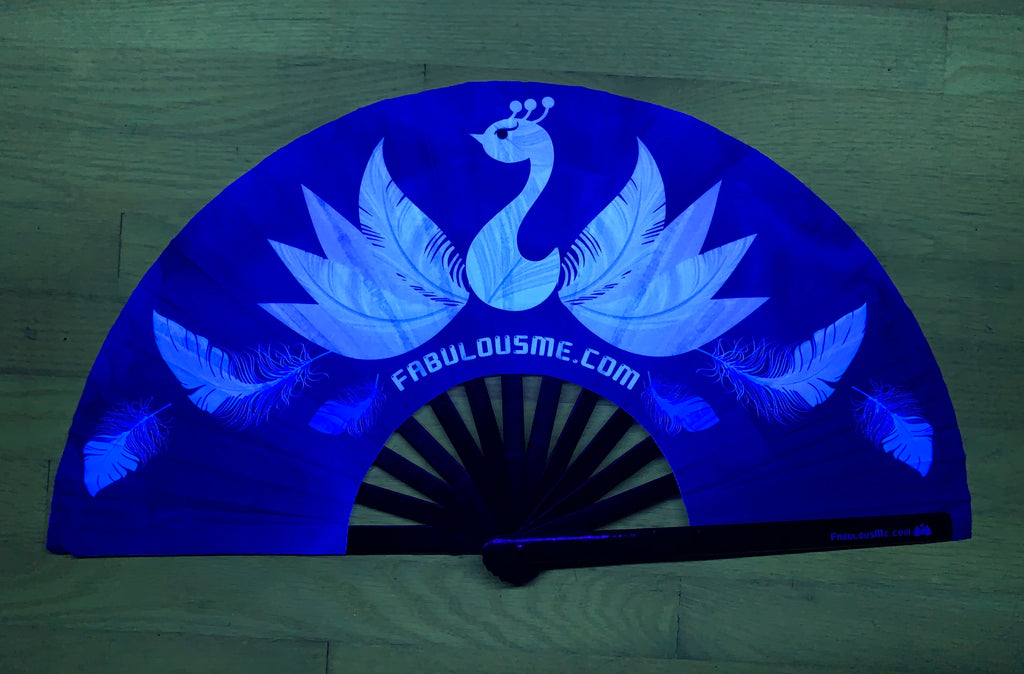 black and white peacock logo circuit party uv glow hand fan by fabulous me