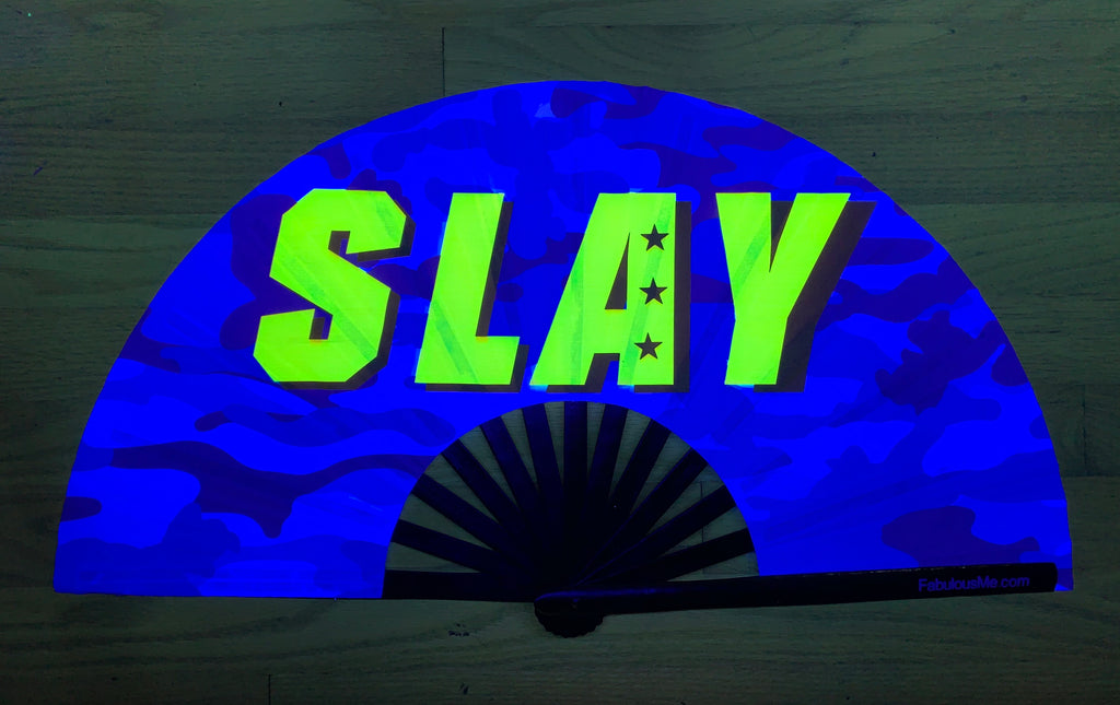 blue slay circuit party uv glow hand fan by fabulous me, circuit fan, edm fan, rave fan by fabulousme.com fabulousme fwap slay