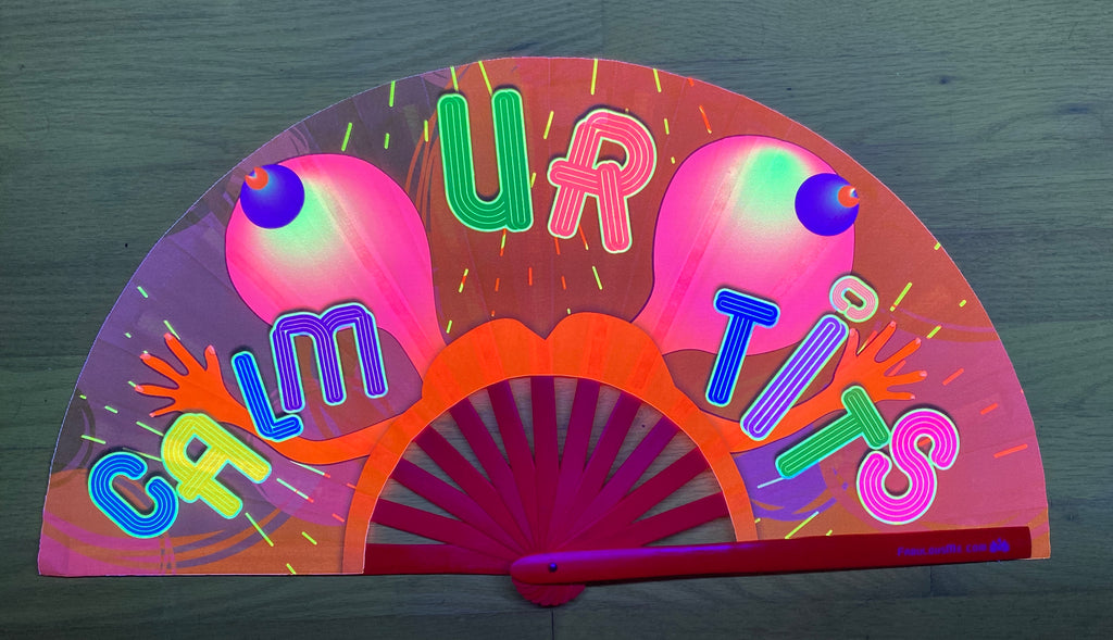 calm your tits circuit party uv glow bamboo hand fan by fabulous me
