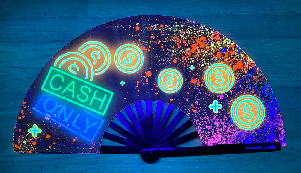 cash only circuit party uv glow hand fan by fabulous me