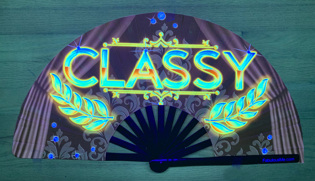 classy bamboo circuit party uv glow hand fan by Fabulous me fans for raves edm festivals clack