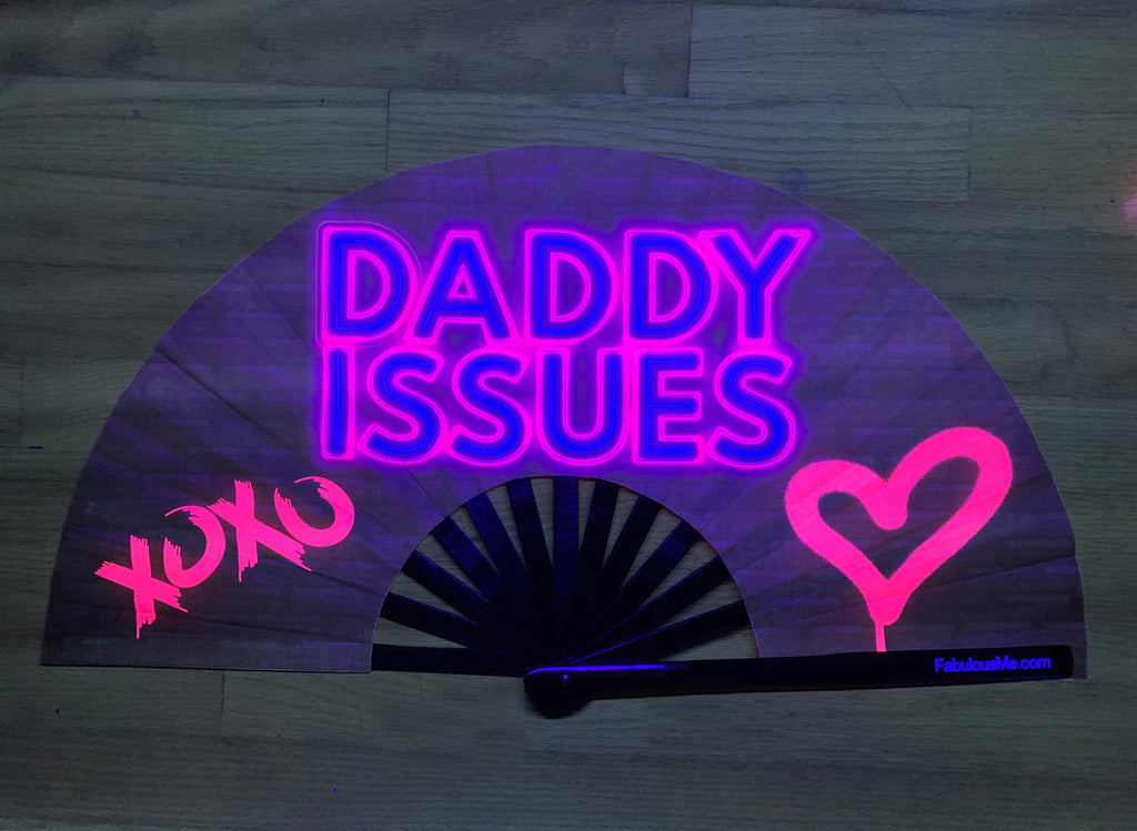 Daddy Issues bamboo circuit party uv glow fan by Fabulous me fans for raves edm festivals
