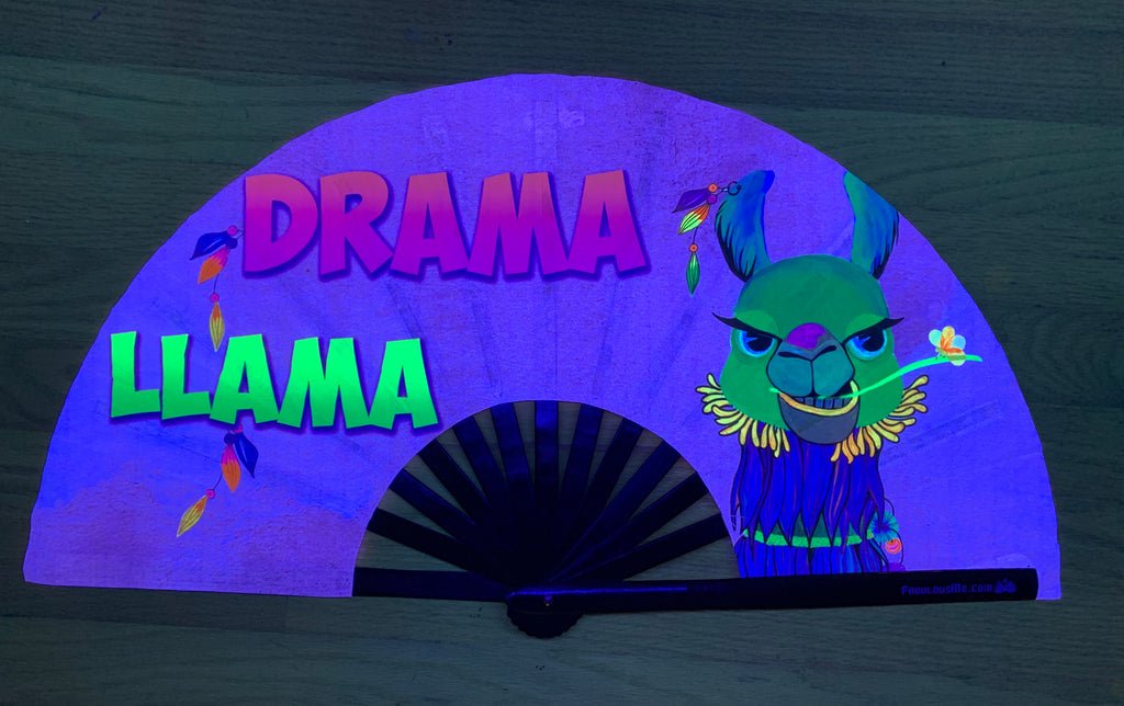 drama llama circuit party uv glow hand fan by fabulous me, circuit fan, edm fan, rave fan by fabulousme.com fabulousme llama fan, drama llama
