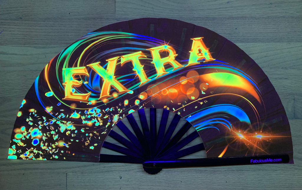 extra circuit party uv glow hand fan by fabulous me, , circuit fan, edm fan, rave fan by fabulousme.com extra fan