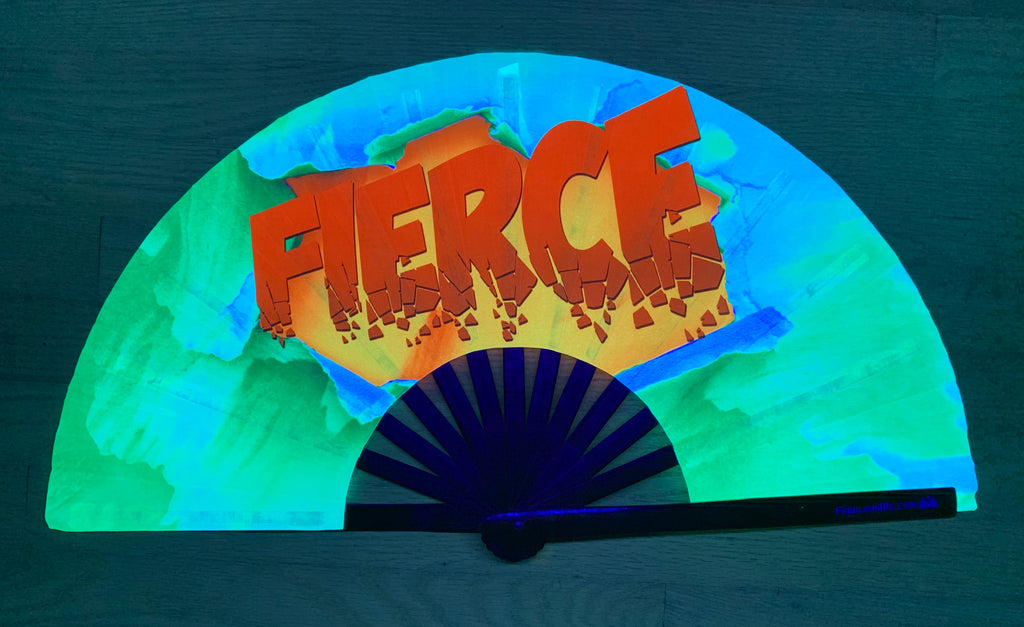 fierce circuit party uv glow bamboo hand fan by fabulous me