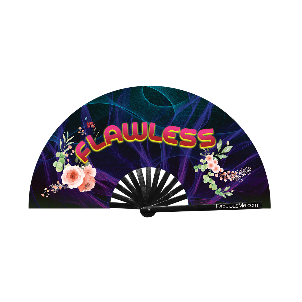 Flawless bamboo circuit party uv glow fan by Fabulousme fans for raves edm festivals clack fwap