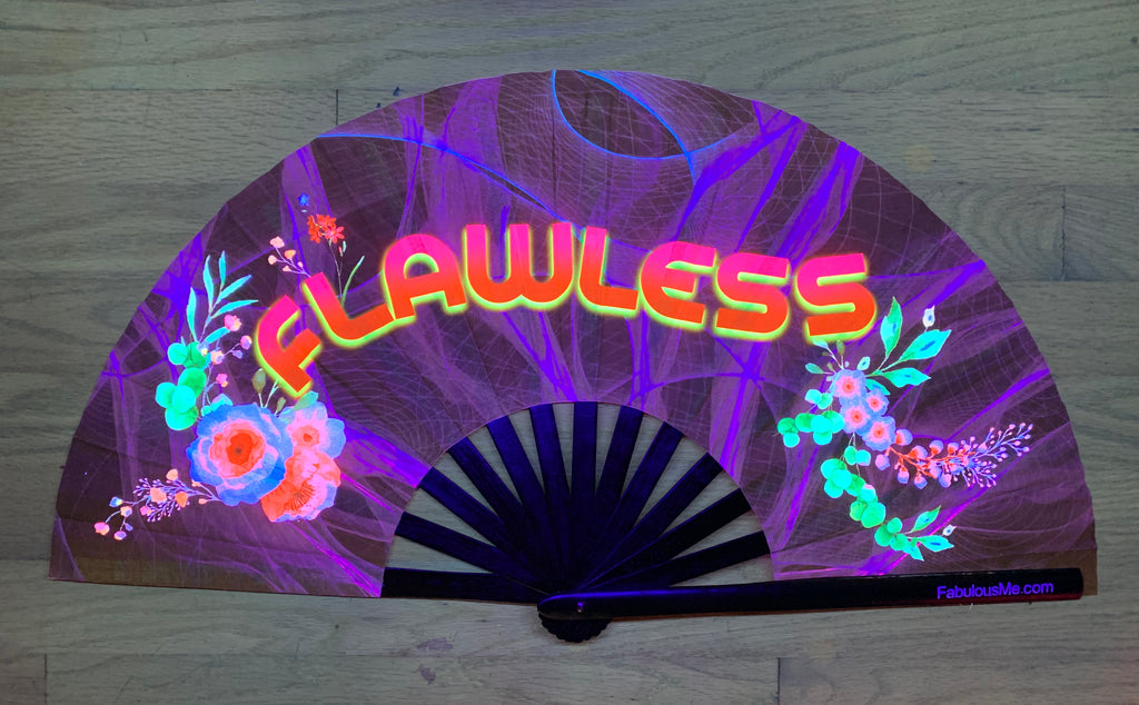 flawless circuit party uv glow hand fan by fabulous me, circuit fan, edm fan, rave fan by fabulousme.com , flawless fan