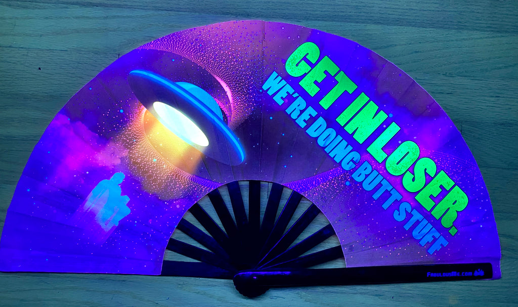 get in loser circuit party uv glow bamboo hand fan by fabulous me
