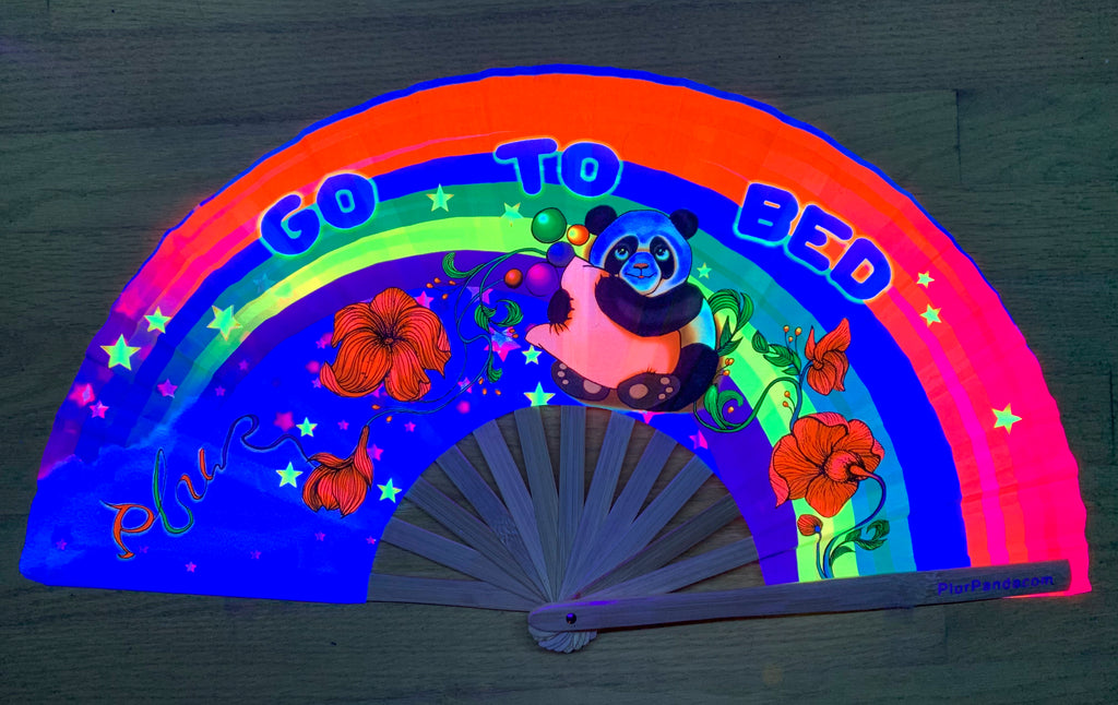 go to bed plur panda bamboo circuit party uv glow fan by Fabulous me fans for raves edm festivals clack