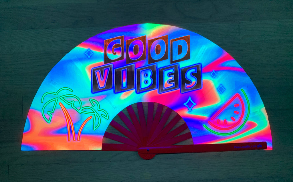good vibes circuit party uv glow hand fan by fabulous me