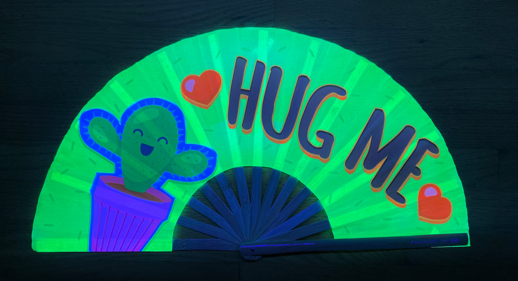 hug me circuit party uv glow bamboo hand fan by fabulous me