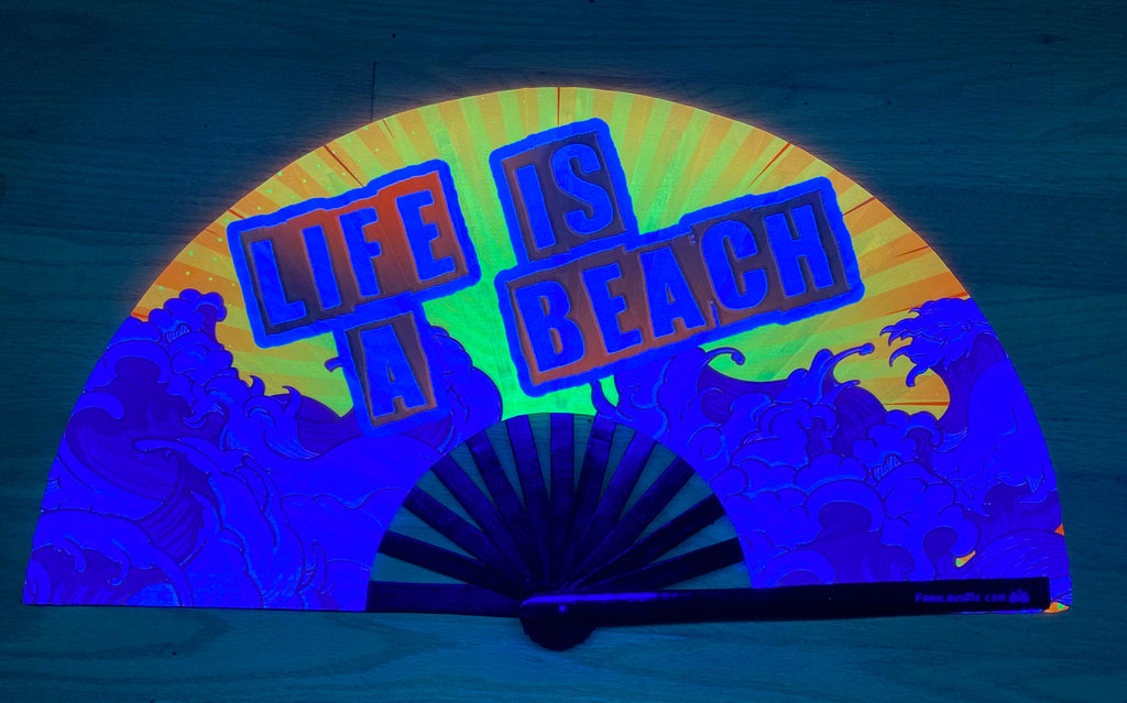 life is a beach circuit party uv glow bamboo hand fan by fabulous me