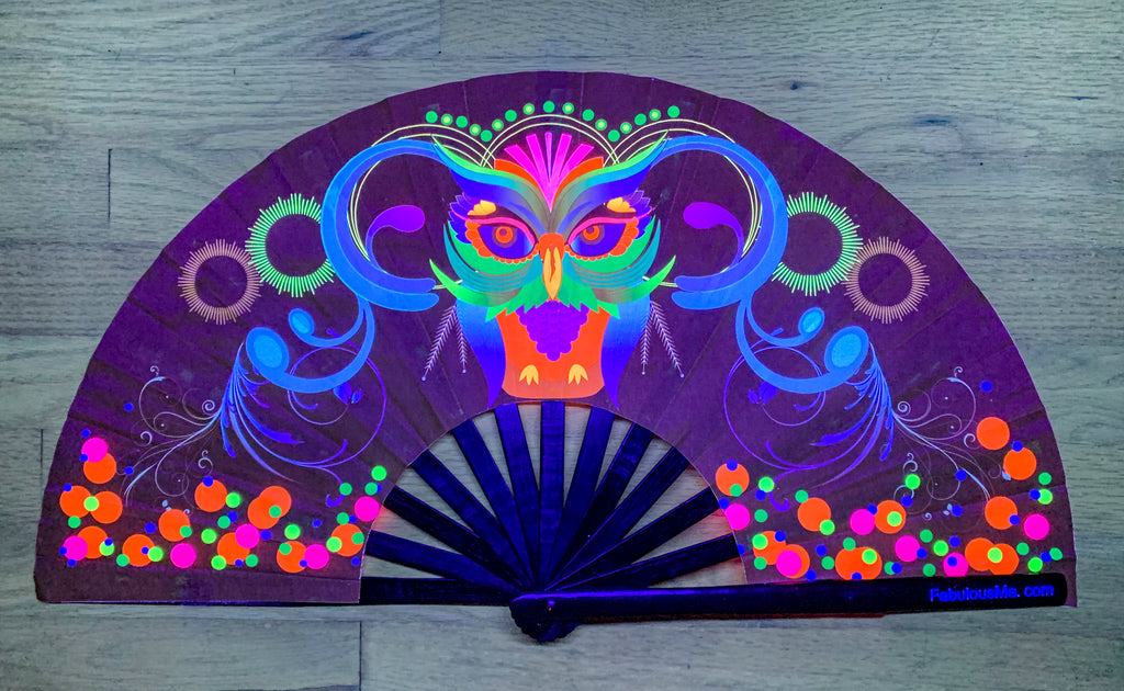 Neon Owl bamboo circuit party uv glow fan by Fabulous me fans for raves edm festivals clack