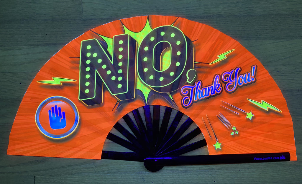 no thank you circuit party uv glow bamboo hand fan by fabulous me