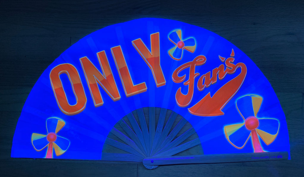 only fans circuit party uv glow bamboo hand fan by fabulous me